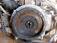 VW Pressure plate and clutch removed, revealing the unneeded flywheel.