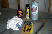 Rags, various brushes, parts cleaner, and degrease such as Simple Green or Foamy Engine Brite