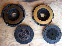 Subaru pressure plate and clutch on left. VW pressure plate and clutch on right.