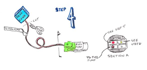 step 5: splice 3 large yellow wires from ignition & fuel pump relay to 30a  fuse to battery hot